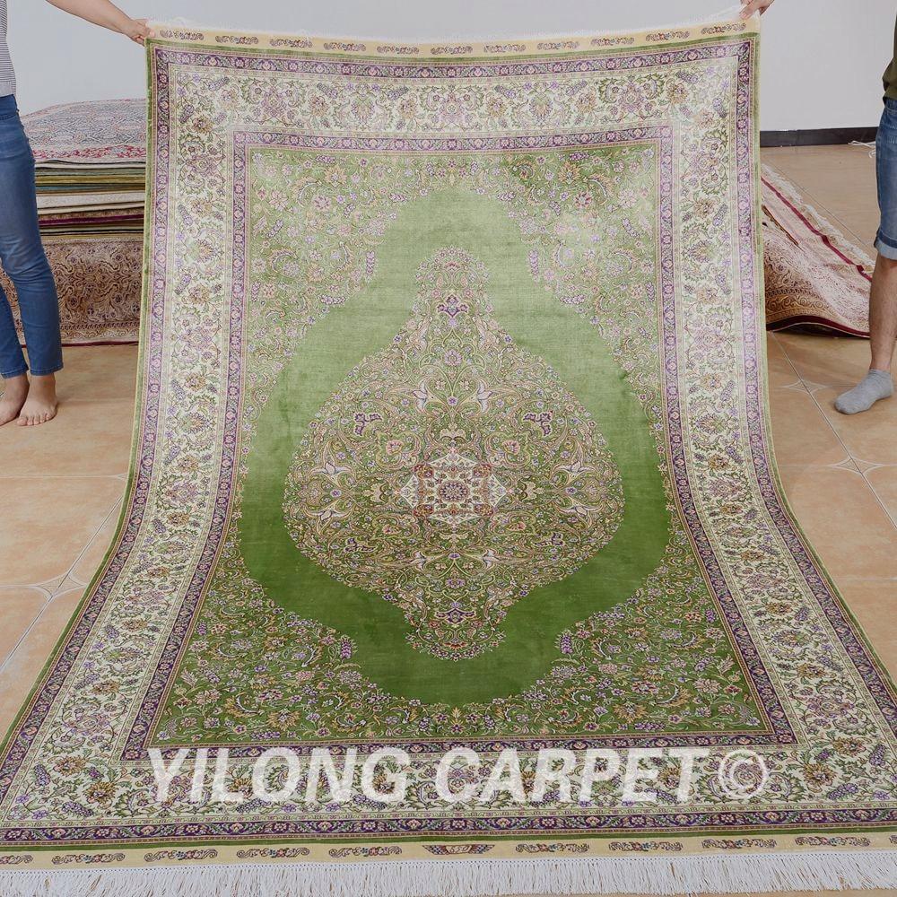Traditional Kashmir Silk Handmade Hand Knotted Persian: Yilong 5'x8' Handmade Kashmir Carpet Green Vantage Hand