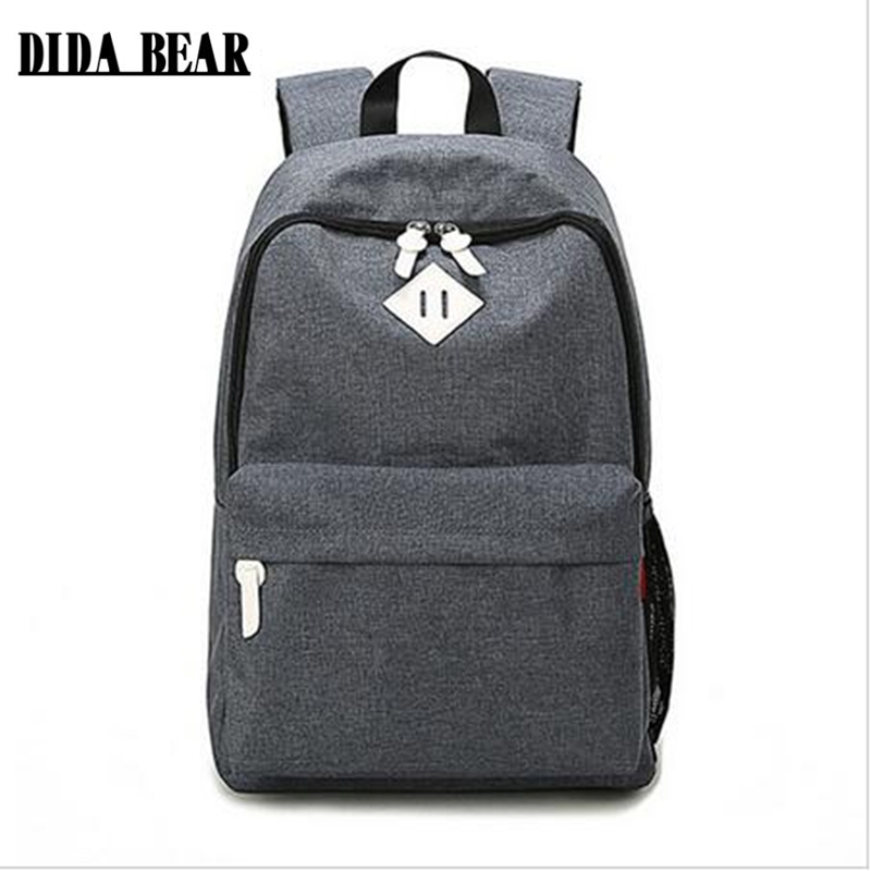 DIDA BEAR Fashion Canvas Backpacks Large School bags for Girls Boys Teenagers Laptop Bags Travel Rucksack mochila Gray Women Men 2017 harajuku style galaxy cosmos zipper canvas women men backpacks printing school bags teens girls boys travel large mochila