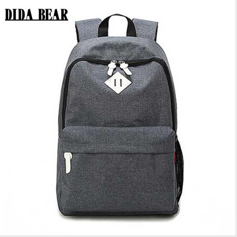 e23822265801 DIDA BEAR модные парусиновые Рюкзаки большие школьные сумки для девочек  мальчиков Подростковые Сумки для ноутбука дорожные