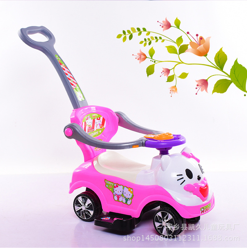 все цены на Free Shipping New children twist car car with music Yo baby walker with a push rod baby stroller scooter manufacturers selling