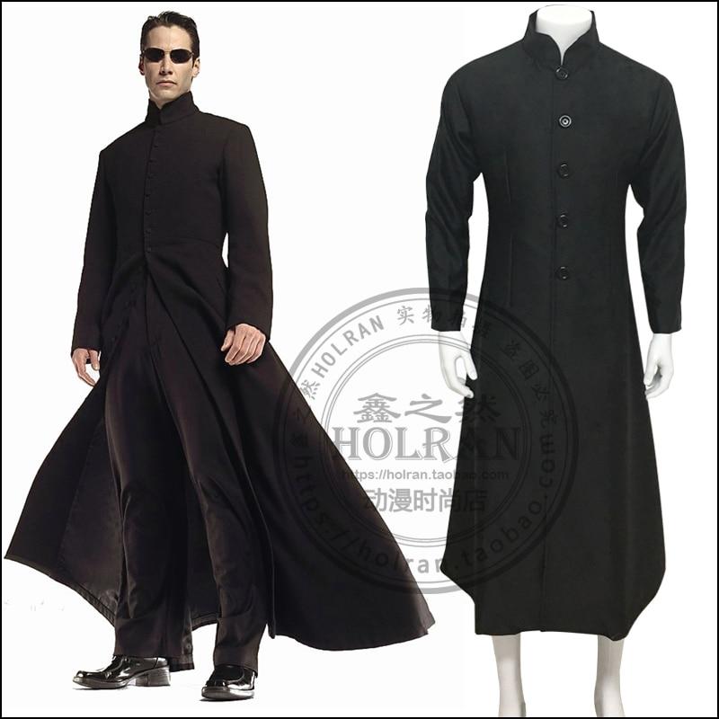 b36b40b068f Online Shop The Matrix Neo Cosplay Costume Black uniform suit Trench Coat  only