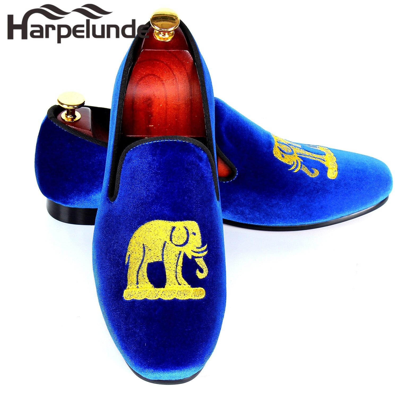 Fumar Chinelos Bordados À Blue Mão 12 Tamanho Lazer Feitos 9 Velvet Harpelunde Homens Azul Loafers Para Sapatos zq0xv0Xnp