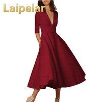 Women Autumn Fashion Party Dress 2018 Spring Slim Dresses Deep V Neck Midi Dress Vestidos with Pockets 3XL Plus Size Clothes