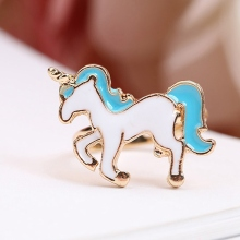 Resizable Enamel Unicorn Ring