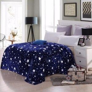Image 2 - Manta de franela con estampado de galaxia y estrellas de CAMMITEVER, sofá a cuadros de lana, mantas estampadas para primavera e invierno