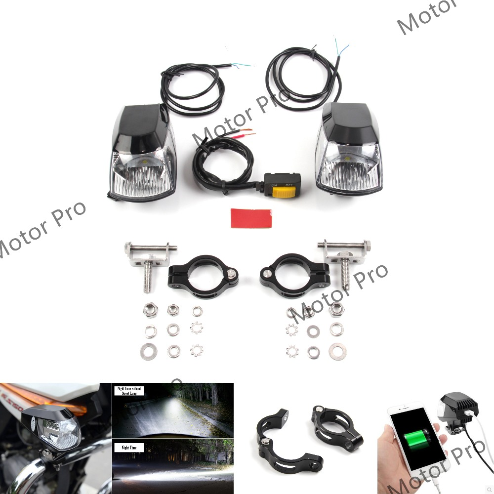 Motorcycle LED Auxiliary Fog Light Assemblie Driving Lamp Kit 20W Headlight Universal Fitment For 31mm Harley For 25mm BMW BLACK