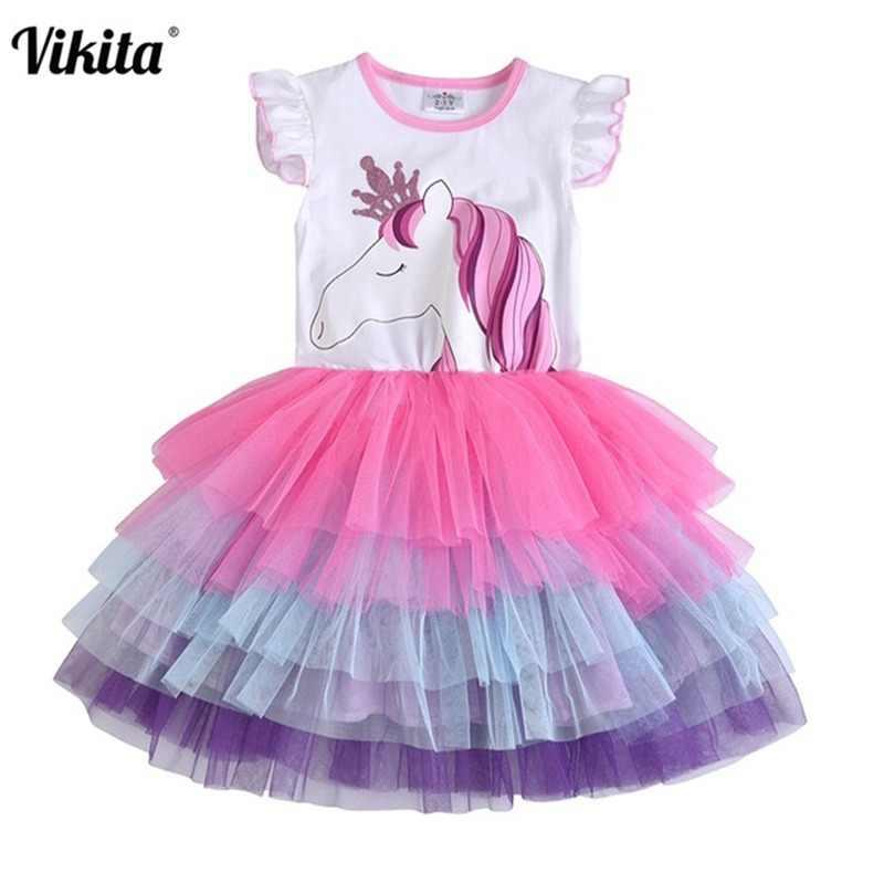 af688ec860 VIKITA Girls Unicorn Tutu Dress Kids Sequined Princess Vestido Girls  Birthday Party Dress Children Summer Unicorn