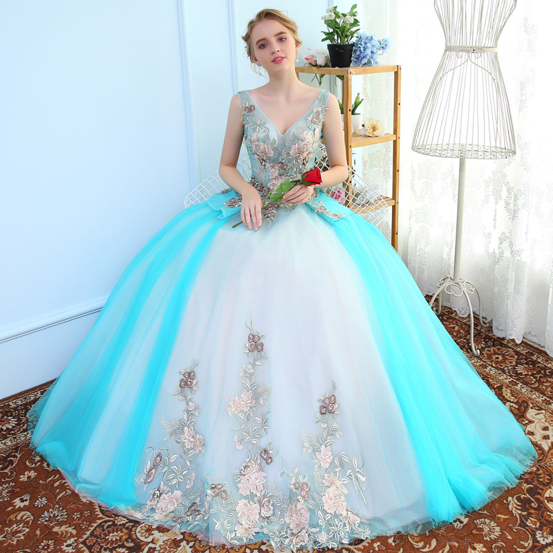 Medieval Renaissance Light Blue And White Gown Dress: Light Sky Blue Embroidery Masquerade Cos Long Belle Ball