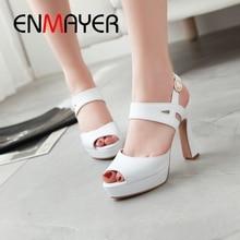 ENMAYER 2019 New Arrival Women Super High Platform Sandals  Basic Party Solid 3 Colors Shoes Size 34-43 LY1889