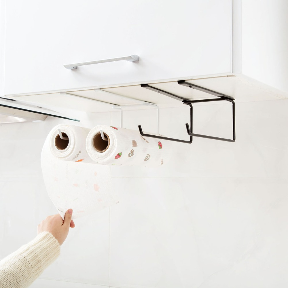 1pc Plastic Bathroom Paper Towel Stand Rack Kitchen Cupboard Hanger Cabinet Door Chest Hanging Sundries Storage Shelf