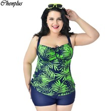 XXL-6XL woman big size tankini floral print maillot de bain summer style swimsuit swimwear