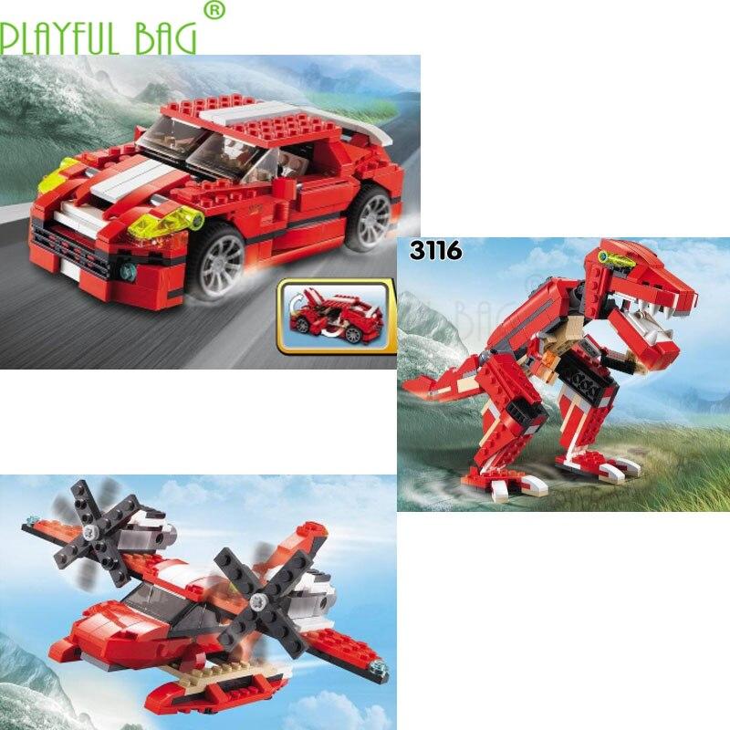 Articles populaires dinosaure avion course voiture Creative Trinity bloc de construction Puzzle jouet garçons créer des compétences pratiques cadeaux amusants HI03