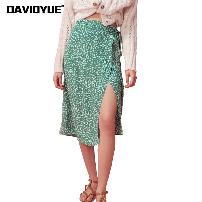 2018 Summer floral print bohemian skirt korean side split high waist skirt boho Vintage button chic midi skirt faldas mujer