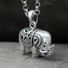100% 925 Sterling Silver Cute Carved Elephant Necklaces Pendants Women Fine Jewelry Brincos S925 for Mother Gift недорого
