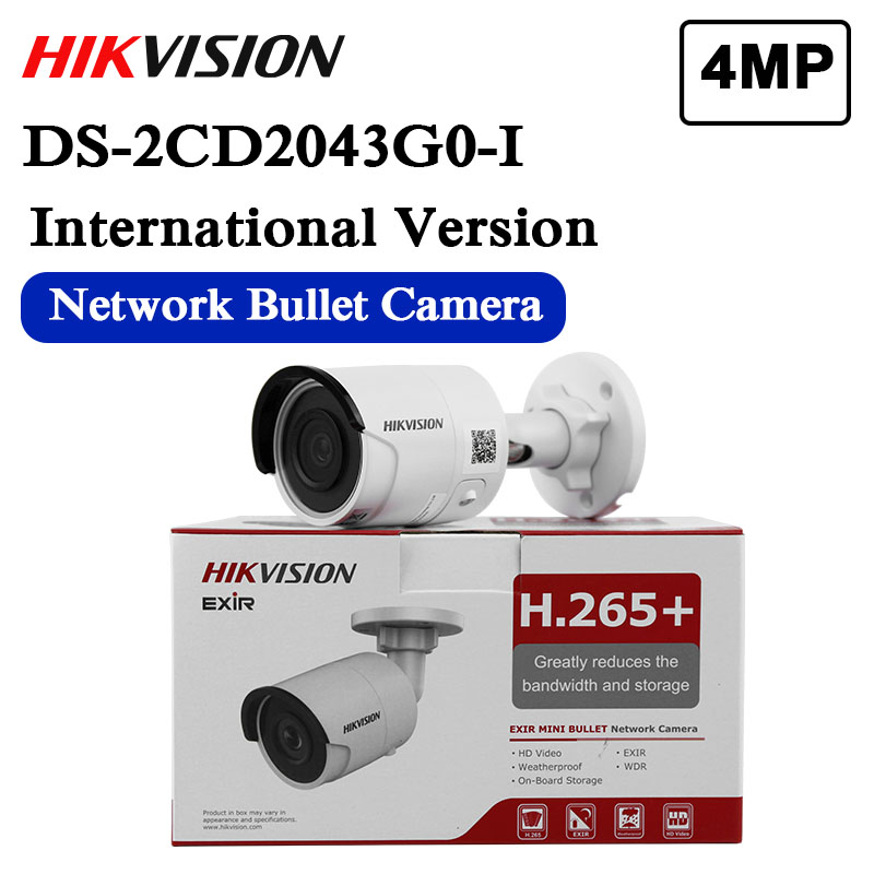 Free Shipping Hikvision Original DS-2CD2043G0-I 4MP Network Bullet Camera Security System Upgrade DS-2CD2042WD-I Outdoor Monitor