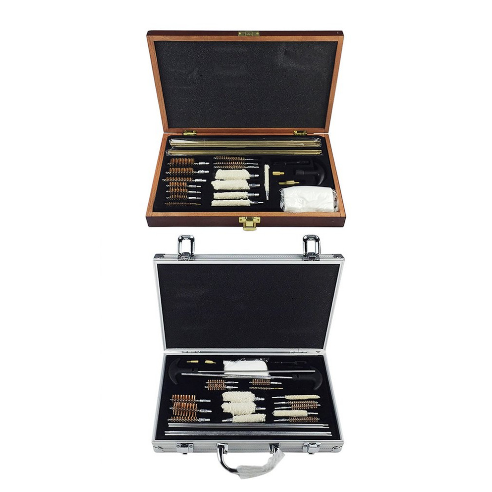 Aluminum Alloy/Wooden Case Tube Set Double-handle Cotton Brush Steel Wire Brushes Set Universal Cleaning Tools Quality durable steel rod brass wire brush handle grinder deburring for wood steels root polished 8 in 1 copper wire wheel