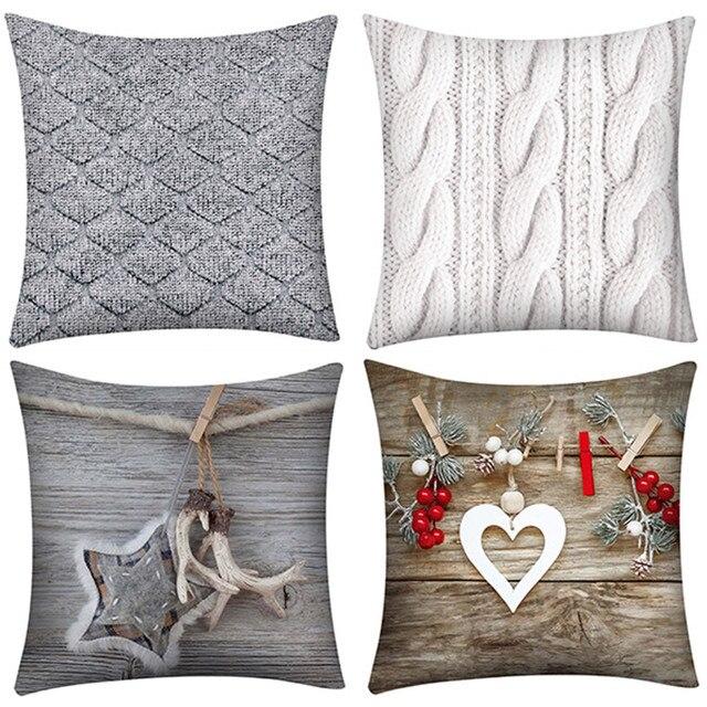 Buon Natale Fodere per Cuscini Decorativo Cuscini di Copertura Per Divano Sedile
