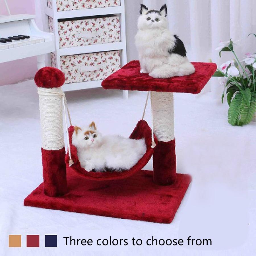 Удобные мягкие прочные гамак для кошек деревянные мебельные рамы для скалолазания полки для кошек когтеточки для домашних животных 70Z1562