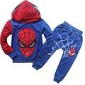 Мальчиков человек-паук костюм с капюшоном детская одежда С Длинным рукавом Мультфильм дети Из Двух частей костюм весна осень одежда
