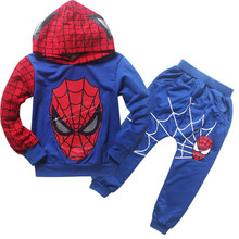 Boys' spider man costume hoodie sweatshirt Children's clothing Long sleeve Cartoon children Two piece suit spring autumn clothes
