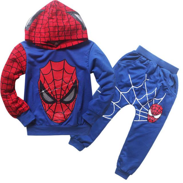 Muchachos traje de hombre araña hombre hoodie sudadera ropa Para Niños de manga Larga niños de Dibujos Animados traje de Dos piezas de ropa de primavera otoño