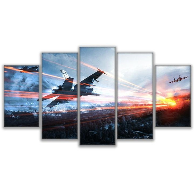 Living Room Framework HD Home Decor Printed Pictures 5 Panel Game Battlefield Modern Canvas Painting Wall Art Modular Poster  3
