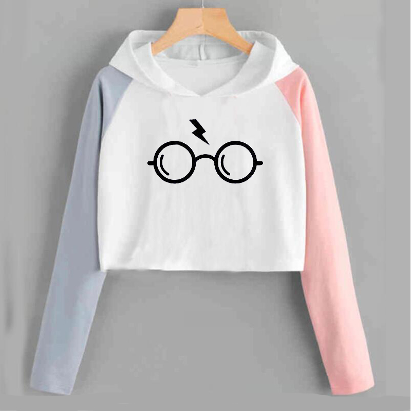 Crop Hoodies Sweatshirts Harry Style Glasses Print Women Sweatshirt Top Slim Tracksuit Brand Clothes Harajuku Moletom Woman Tops