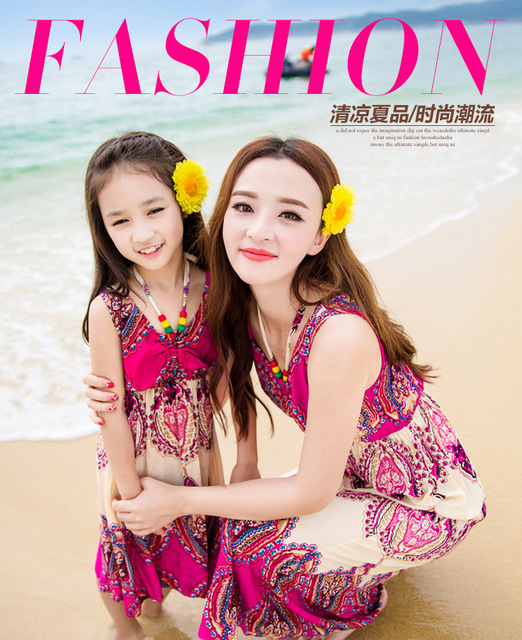 ef70d7e2b8c family clothing summer style matching mother daughter clothes beach floral  mom and daughter dress retail 1 pcs
