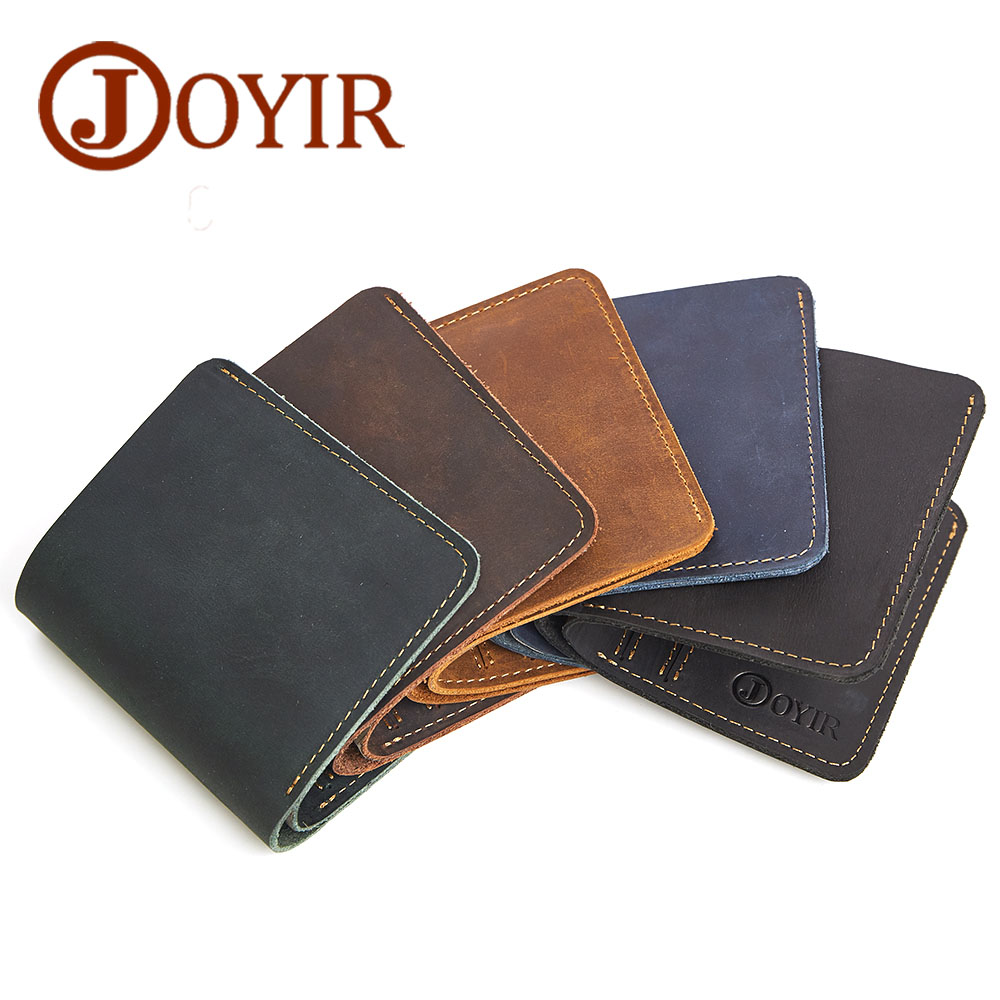 JOYIR Designer Male Wallet Crazy Horse Leather Men Wallets Vintage Coin Purse Male Wallet Men Small Wallets Card Holder baellerry small mens wallets vintage dull polish short dollar price male cards purse mini leather men wallet carteira masculina