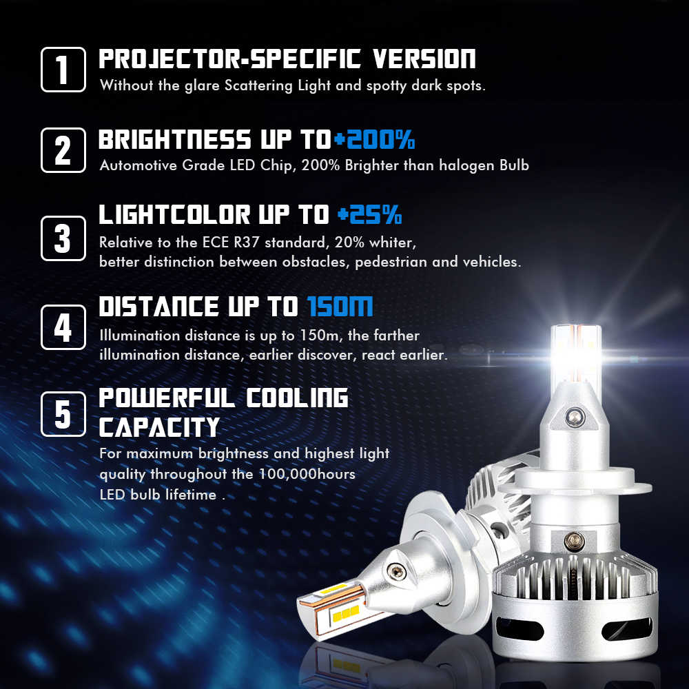 NOVSIGHT Car Projector Headlight H7 Led H7 H11 9005/9006 9012 D5 D2/D4 D1/D3/D8 90W 12000LM 6500K Auto Headlamp Fog Light Bulbs