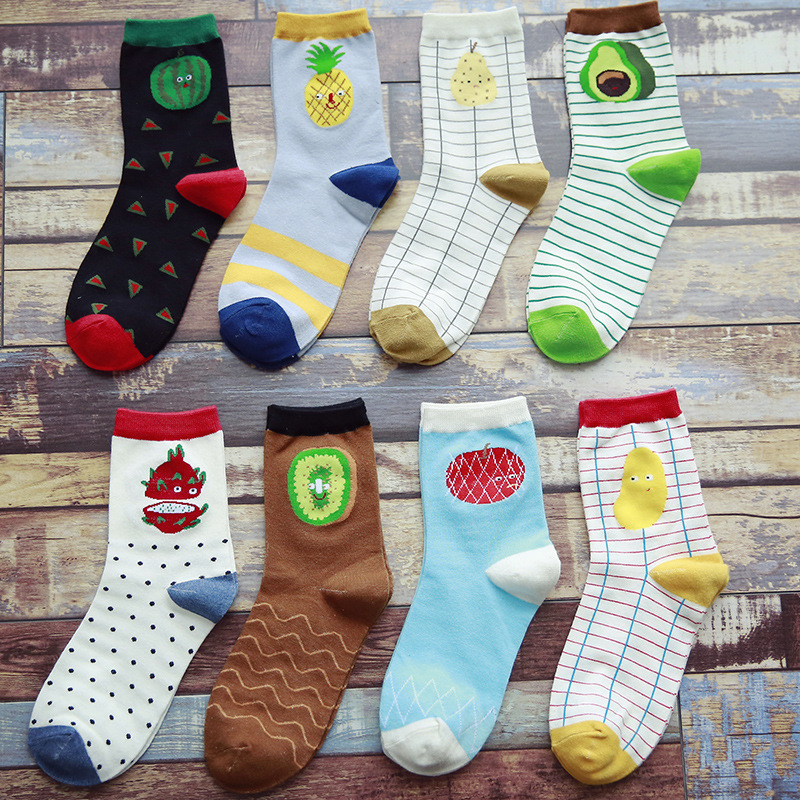 1 Pair New Style Harajuku Fruit Woman Socks Cotton Pineapple Watermelon Girl Female Cute Funny Casual Socks Women