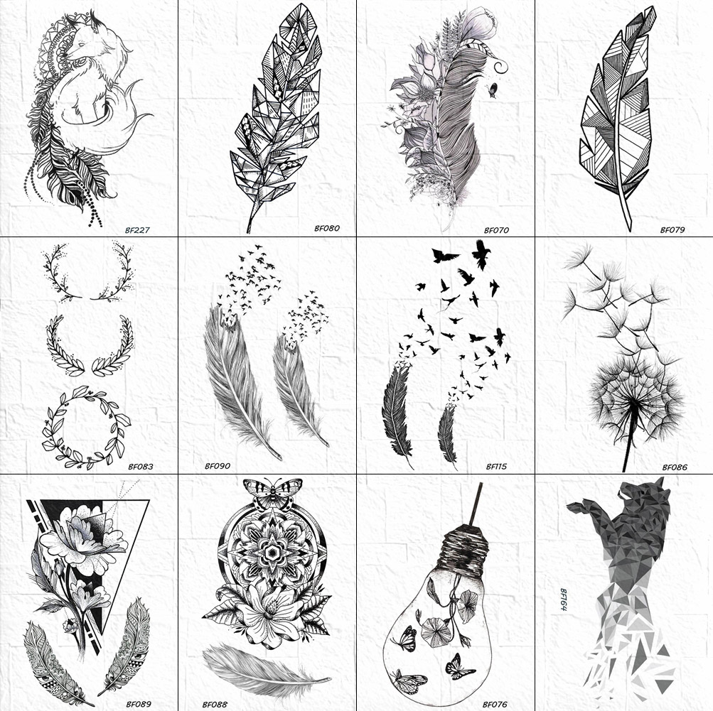 Waterproof Sketch Feather Tattoos Temporary Women Body Arm Art Tattoo Sticker Girls Geometric Henna Bird Tatoos Fake Leaf Decals