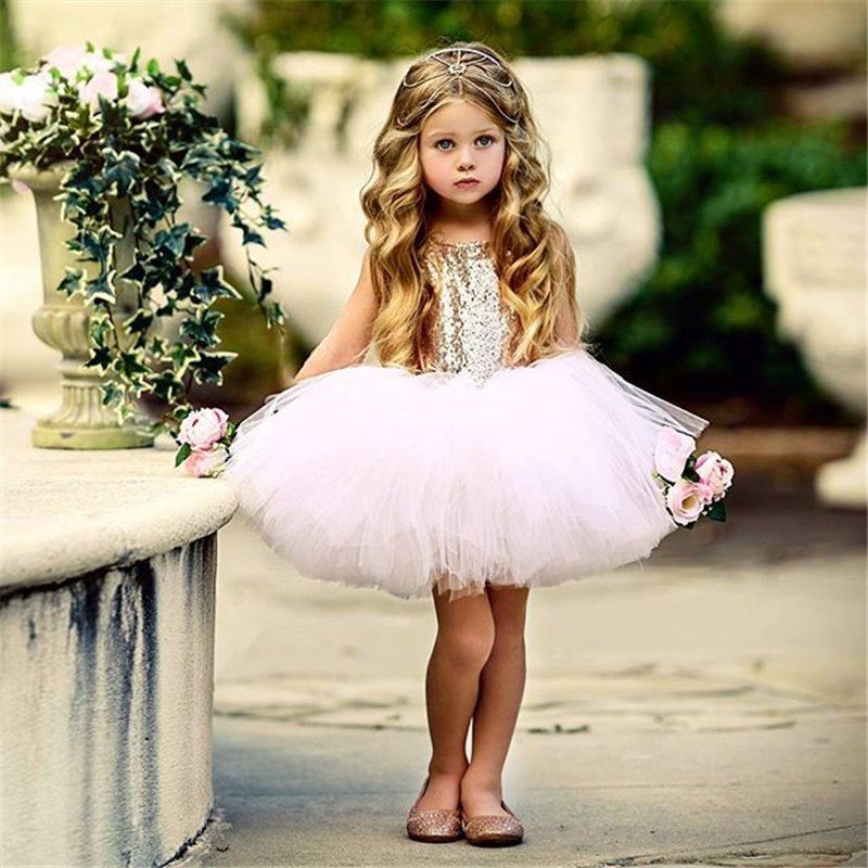 2020 Baby Girl Baptism Dress Toddler Birthday Party Girls Dresses Sparkle Sequins Princess Pink Tulle Tutu Dress 1-5T