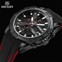 Top Luxury Brand MEGIR Black Silicone Band Chronograph Quartz Watch Men Waterproof Sports Wristwatch Clock Man