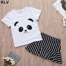 2PCS Kids Summer Baby Girls Cute Cartoon Panda Tops T-shirt+Striped Skirt Outfits Suit Sets