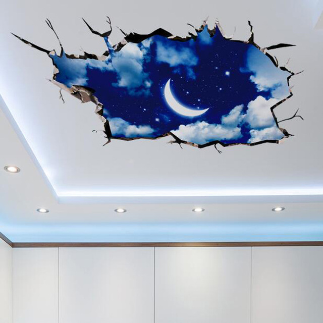 2016 New 3D outer space wall sticker moon stars planet Wall Stickers for kids Rooms Sky Smashed Wall Decal mural muursticker