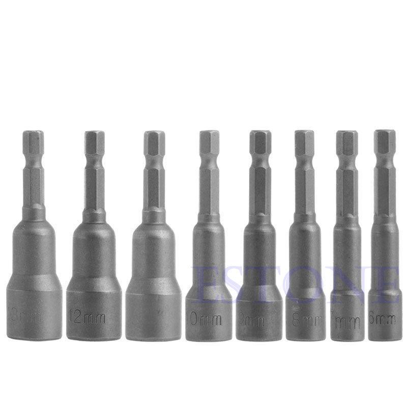 8Pcs/Set 6mm-13mm Socket Magnetic Nut Driver Adapter Drill Bit 1/4'' Hex Shank  new 8pcs 6mm 13mm socket magnetic nut driver adapter drill bit 1 4 hex shank s018 high quality