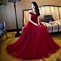 robe de soriee 2017 Cheap Dark Red Evening Dresses Long Burgundy Off the Shoulder Tulle Women Prom Party Dresses robe de noiva