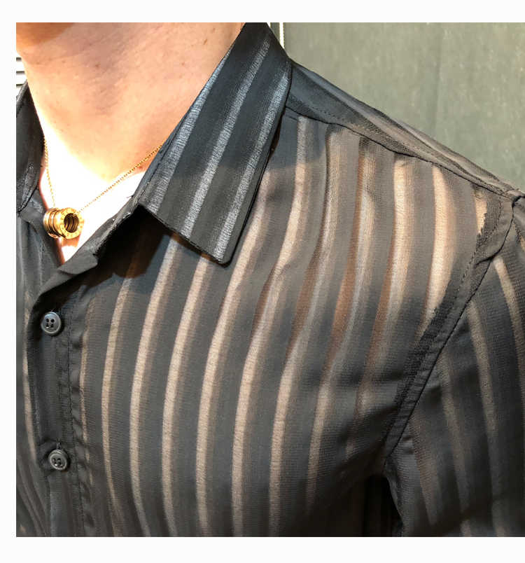 2018透明ストライプシャツ男性ソリッドブラックホワイトビジネスカジュアルボタンダウンセクシーなシースルースリムフィットシャツカミーサmasculina