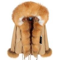 Thickened Warm Khaki Real Fox Fur Coat Women Clothing Jacket Fashion Warm luxury Casual Hooded Winter Jacket Coat Overcoat