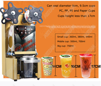 WY980 electric full automatic cup bottle sealing machine commercial use desktop for Milk tea shop coffee bar 2