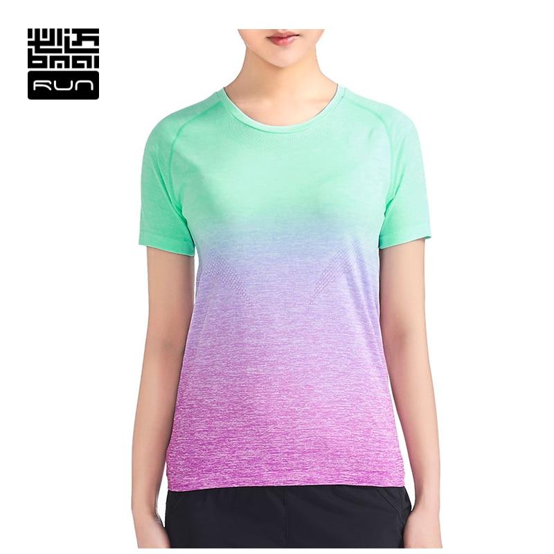 BMAI Womens Running Tshirts Breathable font b Fitness b font Elastic Short Sleeve Ladies Gradient Color
