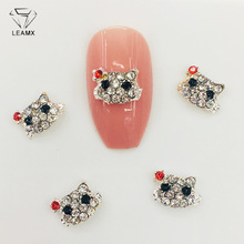 LEAMX 10Pcs Cute 3D Cat Rhinestones Nails Charms Shining Animal Cats Nail Art Decorations Silver Metal DIY Manicure Girls L495