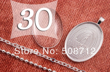 30sets DIY 22x30 mm Pendant Kits Silver Plated Oval Pendant Tray with matching Chain and Glass