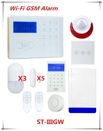 Grande remise 433/868 Mmhz Wifi système d'alarme GSM réseau Wifi alarme domestique GSM système d'alarme de sécurité intelligent