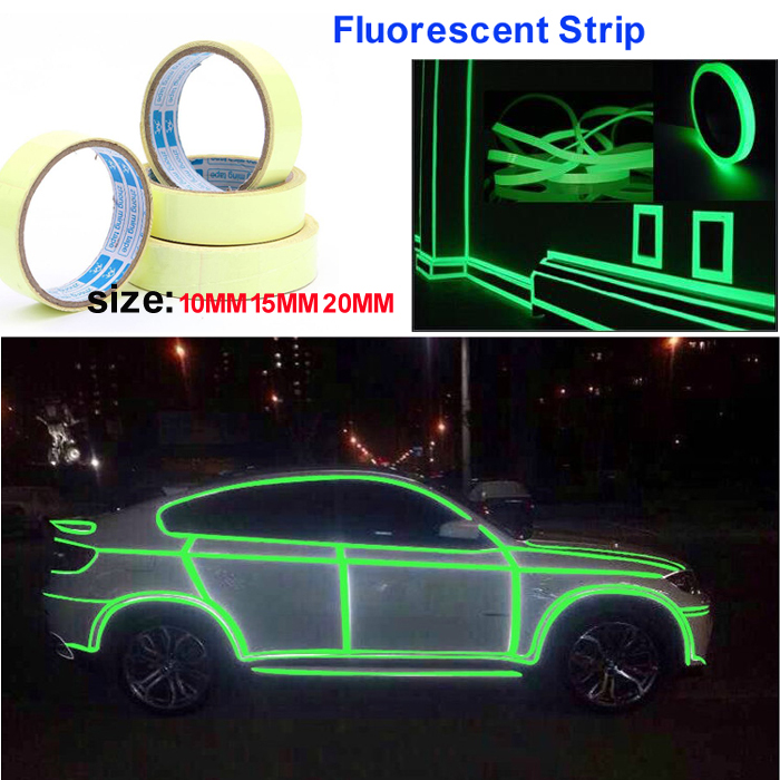 3meter x 10MM 15MM 20MM Decor DIY Night Glow Bright Warning luminous fluorescent Strip Tape Sticker