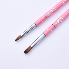 1PC Kolinsky Sable Hair Lovely Pink Metal Handle Nail Brush Set Art Brushes for Tools 8# 10# 12# 14# 16#
