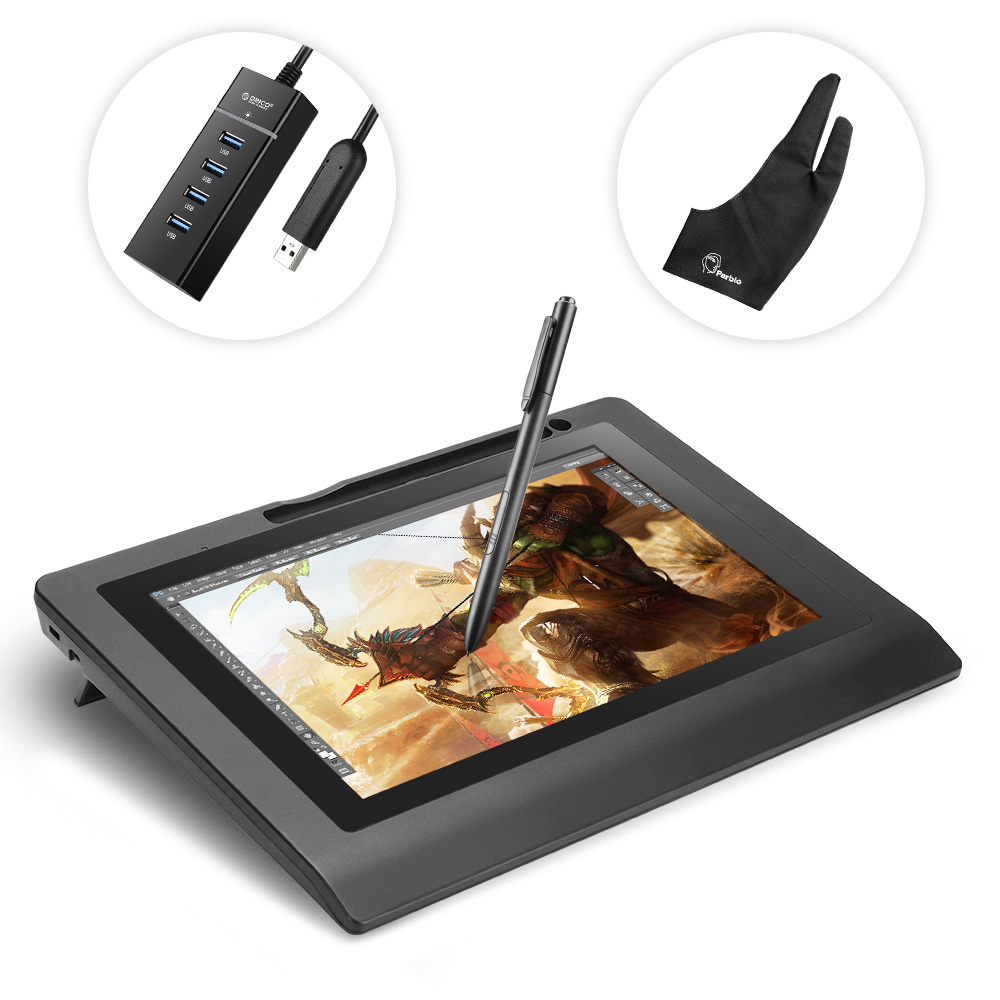 Parblo Coast10 10.1 Art Design USB Graphic Tablet Monitor 2048 Level w/ Cordless Battery-free Pen+ Two-Finger Glove+3 Nibs parblo mast10 10 1 inches graphic tablet monitor with shortcut keys and battery free pen passive stylus usb 3 1 type c cable