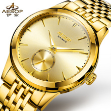 AESOP 9031 Switzerland watches men luxury brand metropolis gentleman genuine automatic mechanical watch gold relogio masculino
