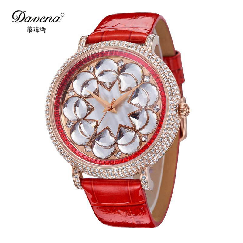 2016 Luxury Women bling Austrian crystal wristwatch womens rhinestone watches fashion casual quartz watch Top Davena 31121 clock